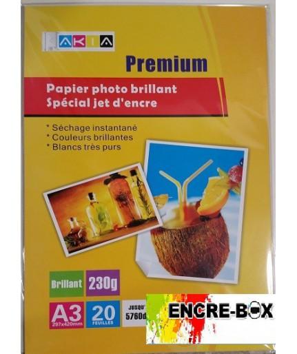 PAPIER PHOTO A3 BRILLANT 230gr/20 pages