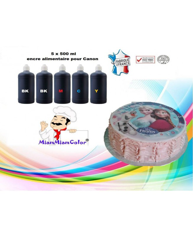 KIT FLACON ENCRE ALIMENTAIRE 5 X 500ML CANON