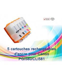 KIT DE 5 CARTOUCHES RECHARGEABLES CANON PGI580/CLI581 AVEC PUCES