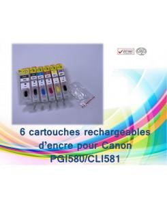 KIT DE 6 CARTOUCHES RECHARGEABLES CANON PGI580/CLI581 AVEC PUCES