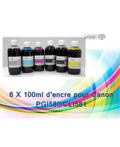 KIT FLACON D'ENCRE 6 X 100ML CANON PGI580/CLI581