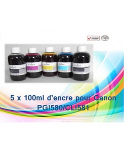 KIT FLACON D'ENCRE 5 X 100ML CANON PGI580/CLI581
