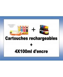 CARTOUCHES RECHARGEABLES PGI520/CLI521 + 4X100ml d'encre